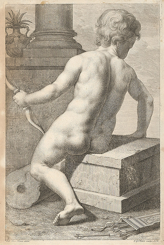 Johann Gottfried Thelott, Johann Daniel Herz - Amor sediaci na podstavci