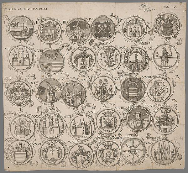 Nemecký grafik z 18. storočia – Pečate tridsiatich uhorských miest