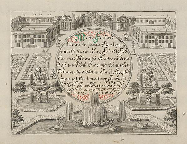 Stredoeurópsky grafik z 18. storočia – Záhrada s pavilónom