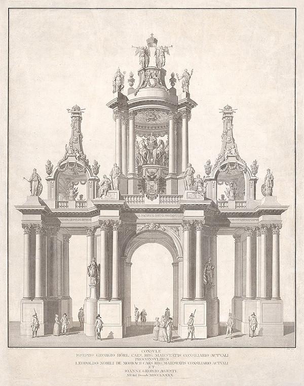 Stredoeurópsky grafik z 18. storočia – Triumfálna brána konzula Jozefa Juraja Hörla