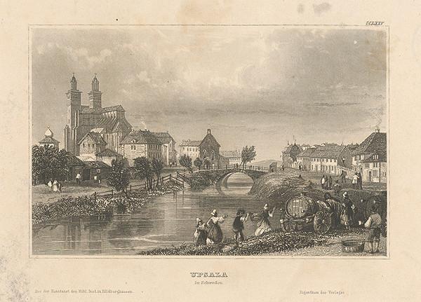 Stredoeurópsky grafik z 19. storočia - Panoráma mesta Upsala