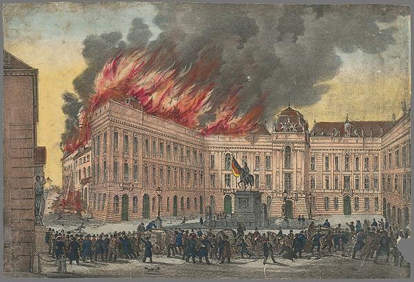 Stredoeurópsky grafik z 19. storočia – Požiar Dvorskej knihovni vo Viedni
