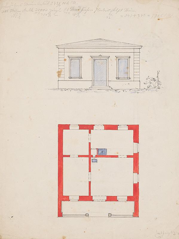 Karl Feigler - Návrh na fasádu a pôdorys rodinného domu
