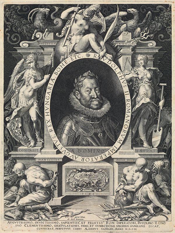 Aegidius Sadeler II., Hans von Aachen - Alegorický portrét cisára Rudolfa II.