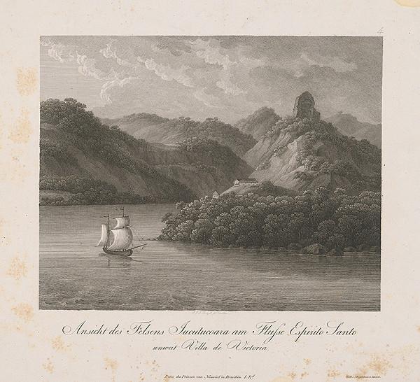 Nemecký maliar z 19. storočia – Pohľad na skalu Jucutucoara pri rieke Espirito Santo neďaleko Villa de Victoria