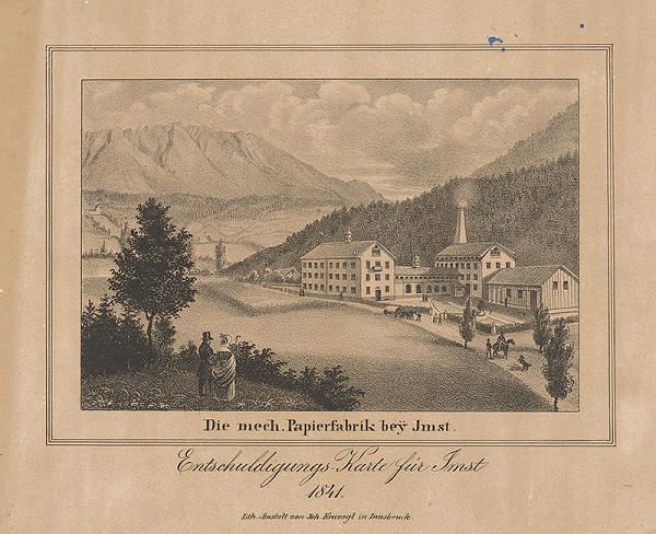 Nemecký maliar z 19. storočia – Továreň na papier pri Imste