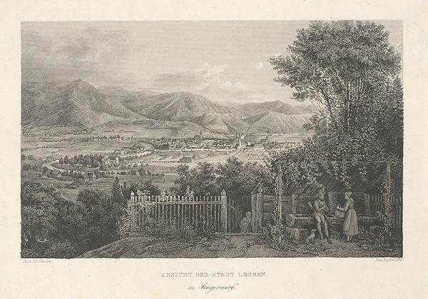 Nemecký maliar z 19. storočia - Pohľad na mesto Leoben