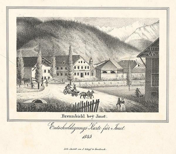 Nemecký maliar z 19. storočia – Dedina Brennbichl pri Imste