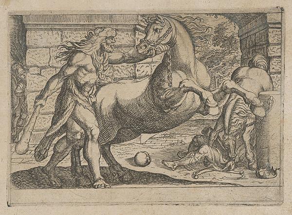 Antonio Tempesta, Nicolaus van Aelst - Skrotenie koňa. Herakles.