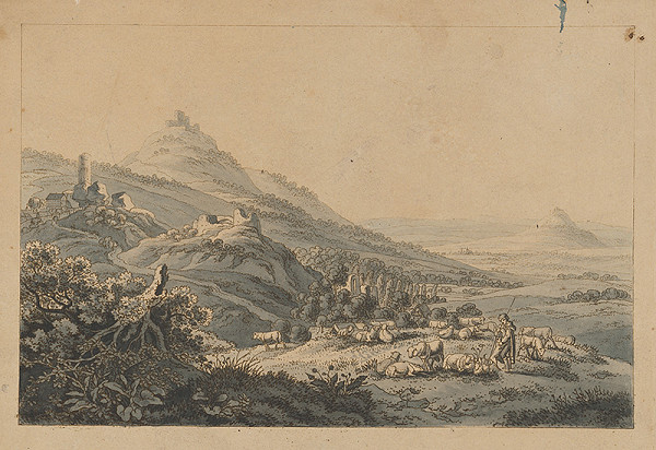Český maliar z 19. storočia - Krajinka s vrchmi