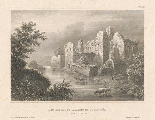Stredoeurópsky grafik z 19. storočia - Zrúcanina biskupského paláca sv.Davida