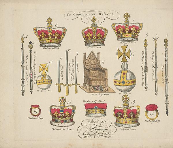 Stredoeurópsky grafik z 19. storočia - Korunovačné znaky anglického kráľa