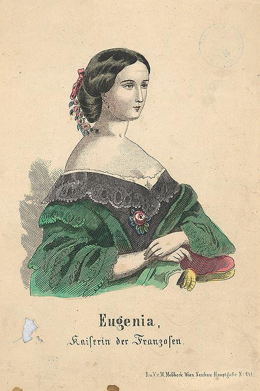 Stredoeurópsky grafik z 19. storočia – Portrét francúzskej cisárovnej  Eugénie de Montijo