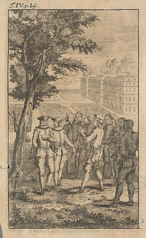 Stredoeurópsky grafik z 1. polovice 18. storočia – Šľachtici medzi vojakmi