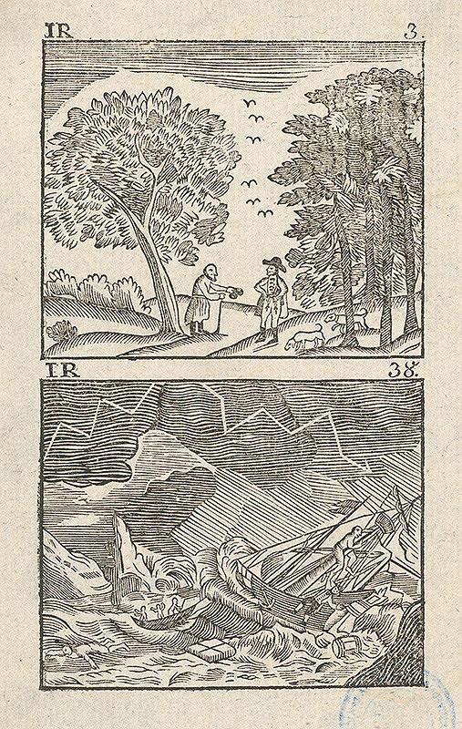 Stredoeurópsky grafik z 19. storočia - Dvojobraz-Stretnutie sedliaka so statkárom, Stroskotanie lodi