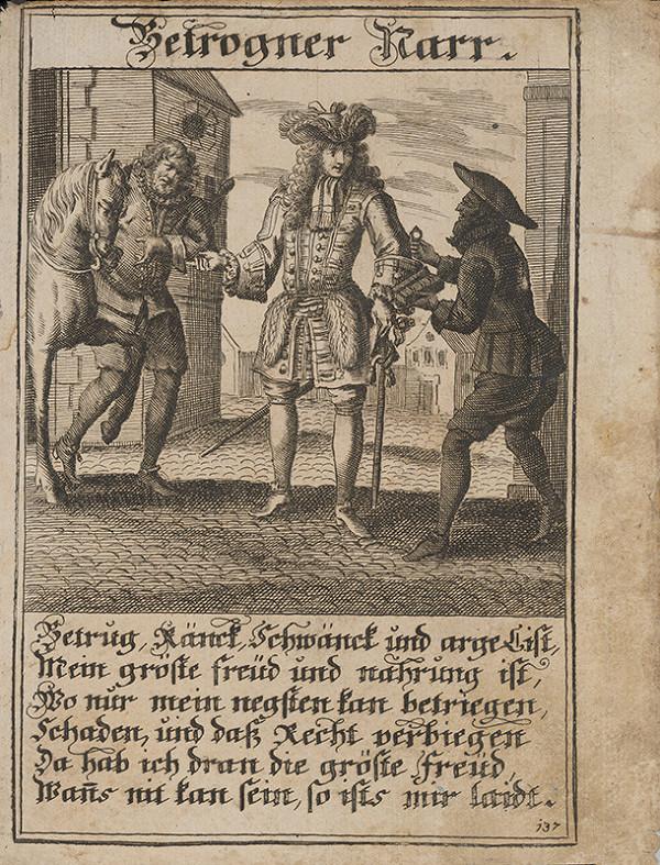 Stredoeurópsky grafik z 1. polovice 18. storočia - Blázon a podvodníci