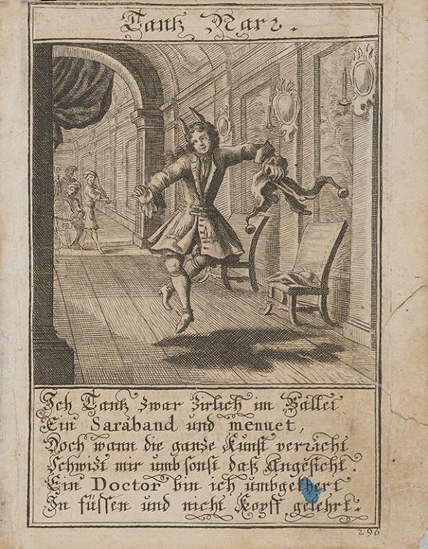 Stredoeurópsky grafik z 1. polovice 18. storočia – Tancujúci blázon