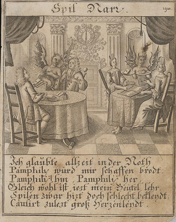 Stredoeurópsky grafik z 1. polovice 18. storočia - Hrajúci sa blázon