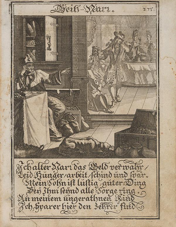 Stredoeurópsky grafik z 1. polovice 18. storočia – Lakomý blázon