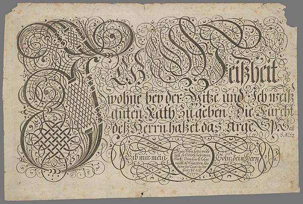 Nemecký grafik z 19. storočia – List s mravoučným textom