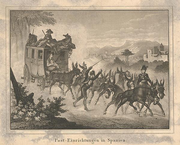 Stredoeurópsky grafik z 19. storočia - Poštový voz v Španielsku