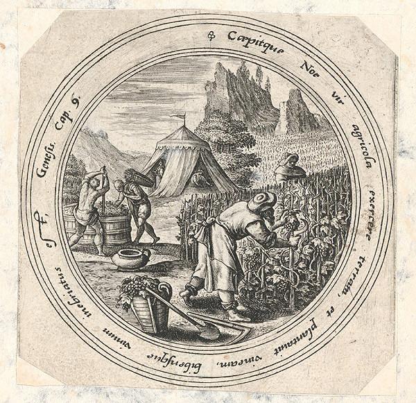 Stredoeurópsky grafik z 1. polovice 18. storočia – Oberačka hrozna