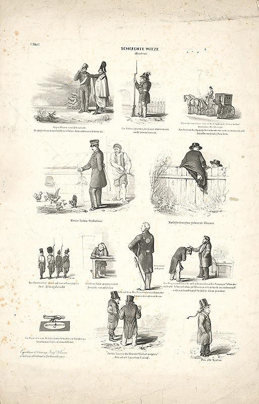 Stredoeurópsky grafik z 19. storočia - Vyobrazené zlé vtipy