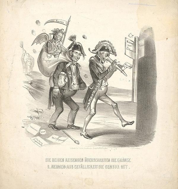 Stredoeurópsky grafik z 19. storočia - Karikatúra-dvaja cestovatelia