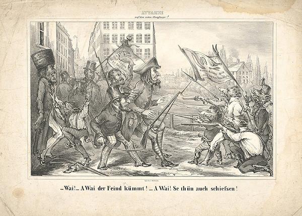 Stredoeurópsky grafik z 19. storočia - Karikatúra-nepriatelia