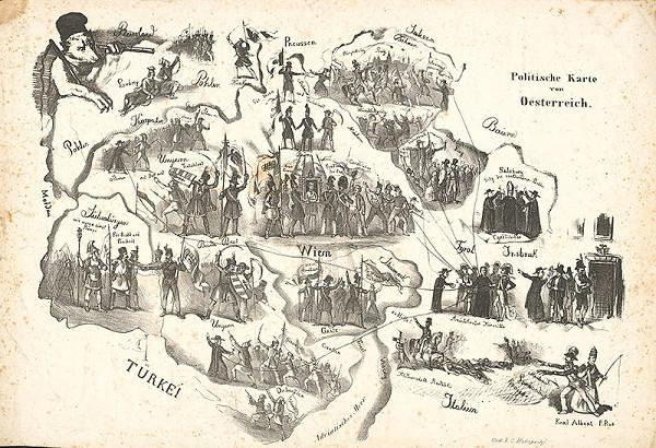 Rakúsky grafik z 19. storočia – Politická mapa Rakúska