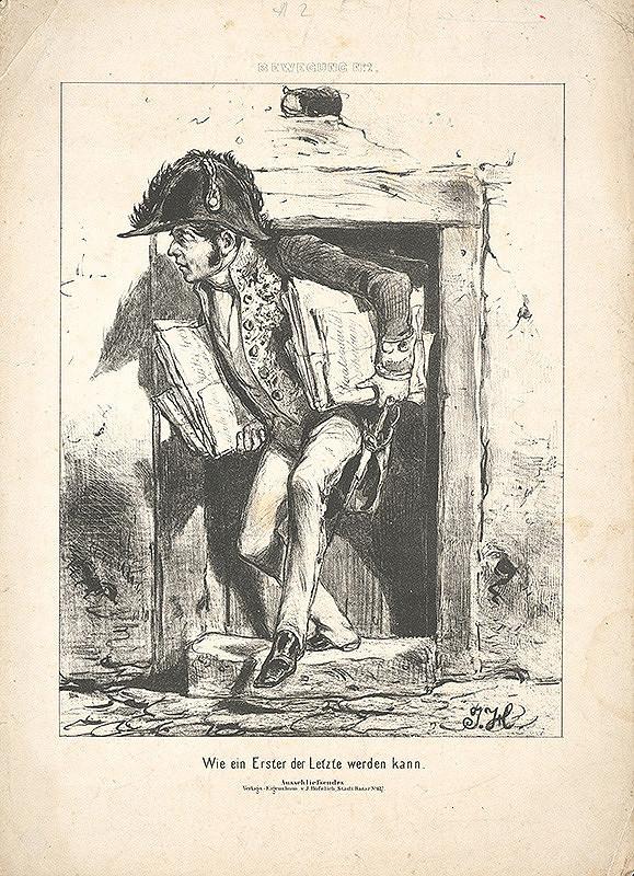 Stredoeurópsky grafik z 19. storočia - Karikatúra-Zlodej