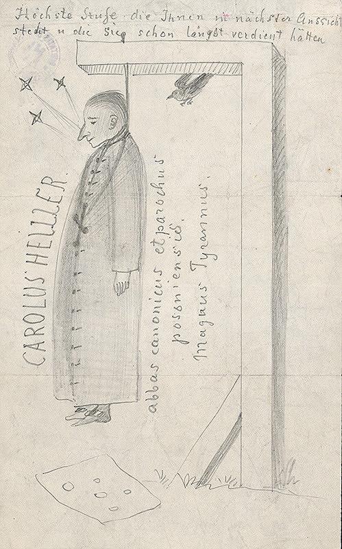 Stredoeurópsky grafik z 19. storočia - Karikatúra kanonika Karola Heillera