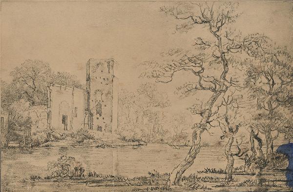 Stredoeurópsky grafik z 19. storočia - Zrúcaniny hradu