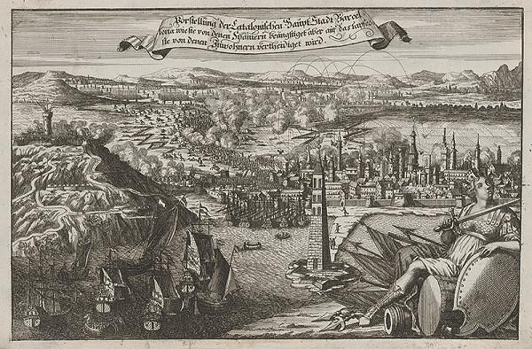 Stredoeurópsky grafik z 18. storočia – Obrana Barcelony