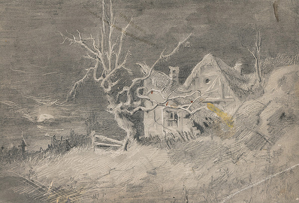 Stredoeurópsky grafik z 19. storočia – Zimná krajinka