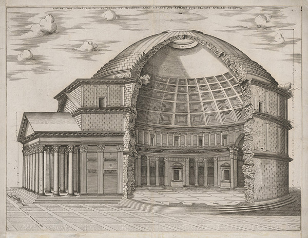 Antonio Lafréry - Pantheon-fasáda a rez v Ríme