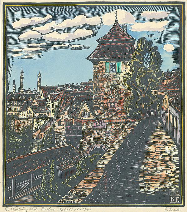 Karol Frech - Ulička a pohľad na mesto Rothenburg