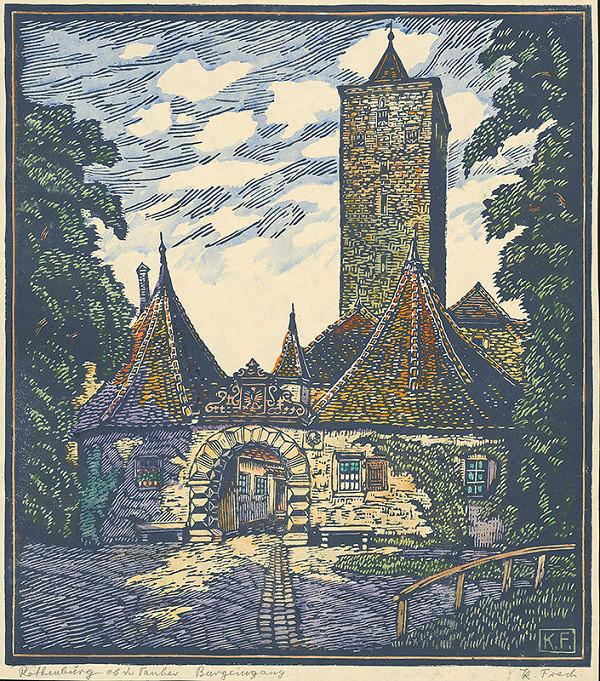 Karol Frech - Hradné nádvorie v Rothenburgu