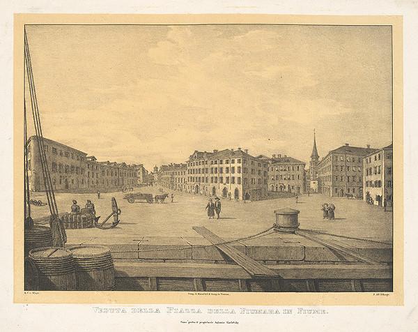 Jakob Alt, A.C. von Mayr – Pohľad na námestie Fiumara