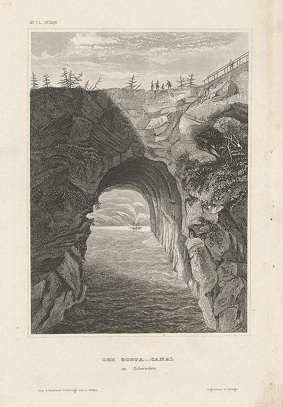 Stredoeurópsky grafik z 19. storočia - Goeta kanál vo Švédsku