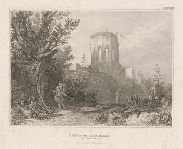 Stredoeurópsky grafik z 19. storočia - Zrúcaniny Samaria