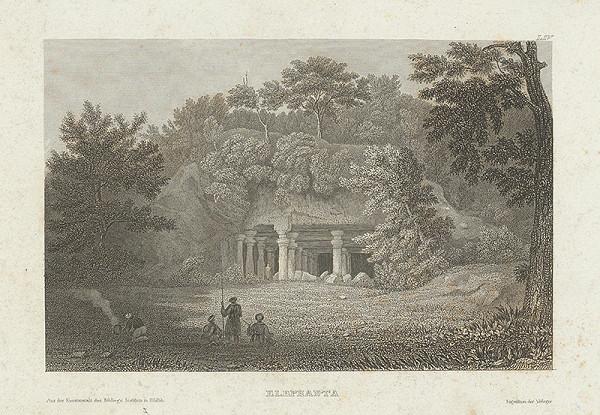 Stredoeurópsky grafik z 19. storočia - Skalný kostol Elephanta