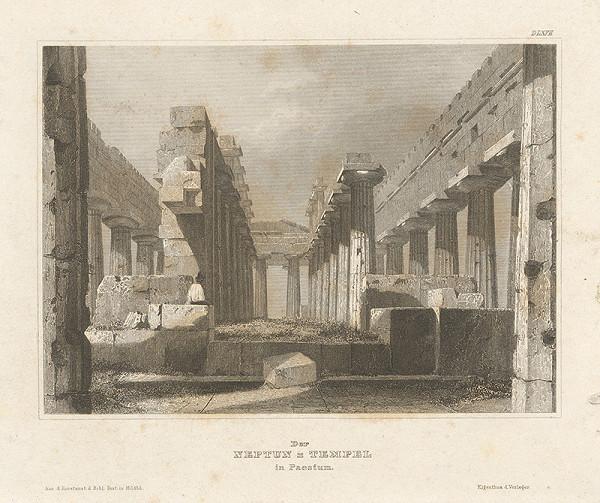 Stredoeurópsky grafik z 19. storočia – Zrúcaniny Neptunovho chrámu