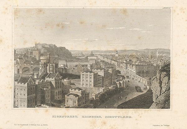 Stredoeurópsky grafik z 19. storočia - Hlavná ulica v Edinburgu