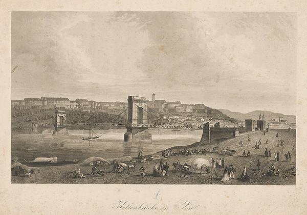 Stredoeurópsky grafik z 19. storočia - Reťazový most v Budapešti