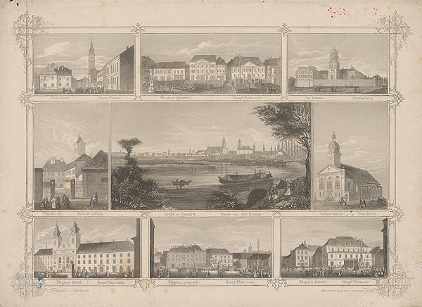 Stredoeurópsky grafik z 19. storočia - Győr na Dunaji