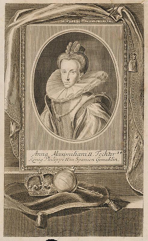 Stredoeurópsky grafik z 1. polovice 18. storočia – Portrét španielskej kráľovnej Anny Habsburskej