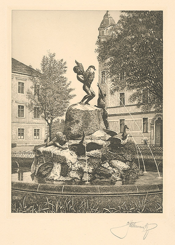 Stredoeurópsky grafik z 1. polovice 20. storočia - Kühmayerova fontána v Bratislave