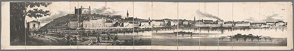 Stredoeurópsky grafik z 2. polovice 19. storočia - Panoráma Bratislavy