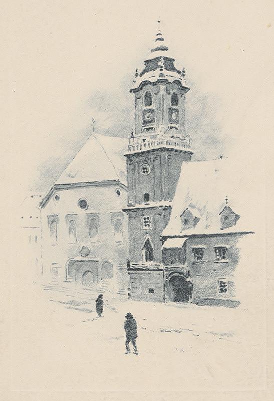 Stredoeurópsky grafik z 1. polovice 20. storočia – Radničná veža v zime